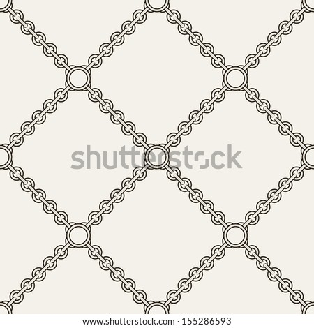 Seamless pattern. Abstract texture with chains. Vector stylish monochrome print - stock vector