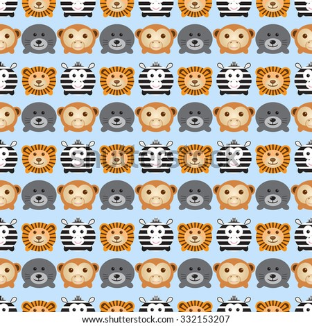 Seamless pattern. Baby background with cute round animals -  zebra, lion, monkey and navy seal. Paper for scrapbook or background. Vector illustration. - stock vector