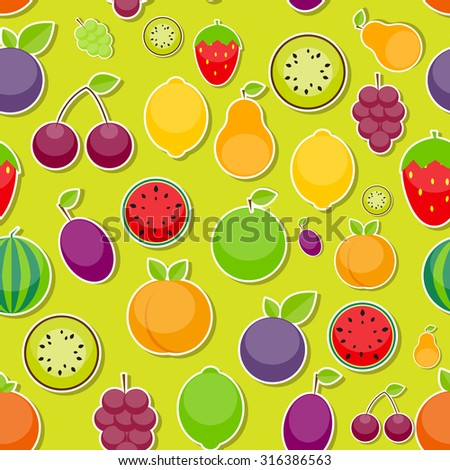 Seamless Pattern Background from Apple, Orange, Plum, Cherry, Lemon, Lime, Watermelon, Strawberries, Kiwi, Peaches, Grapes and Pear  Vector Illustration. EPS10 - stock vector