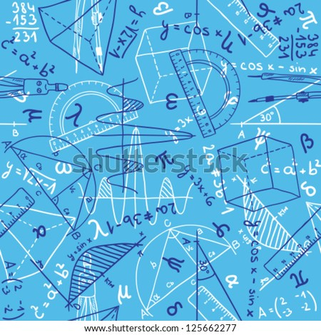 Seamless pattern background - illustration of mathematics drawings, doodle style - stock vector