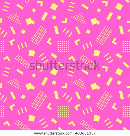 Seamless Pattern background in retro 80s geometric style for fabric print, paper print and website backdrop, vector illustration - stock vector