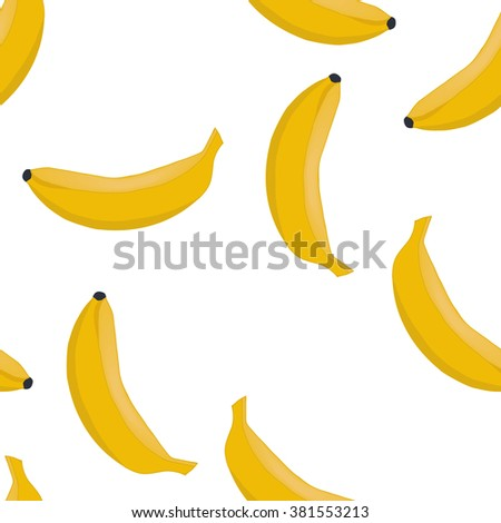 Seamless pattern background ripe bananas. Fruits vector. - stock vector