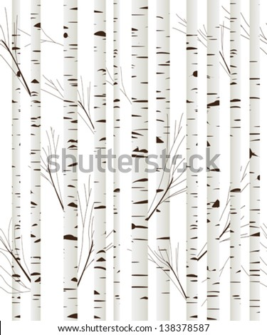 Seamless pattern, background with birch wood trees over white background - stock vector