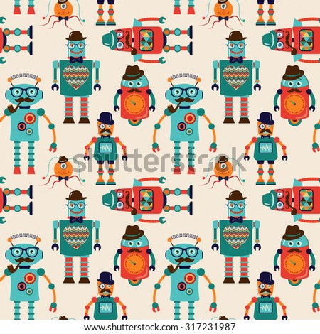 Seamless Pattern Background with Cute Colorful Retro Vintage Cartoon Hipster Robots. Pattern Swatch. Vector Illustration. - stock vector