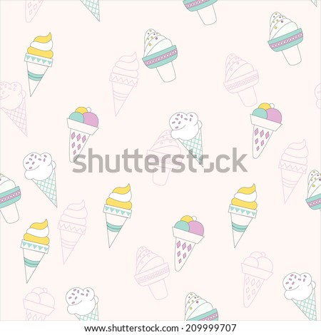 seamless pattern background with Ice cream cones in vector - stock vector
