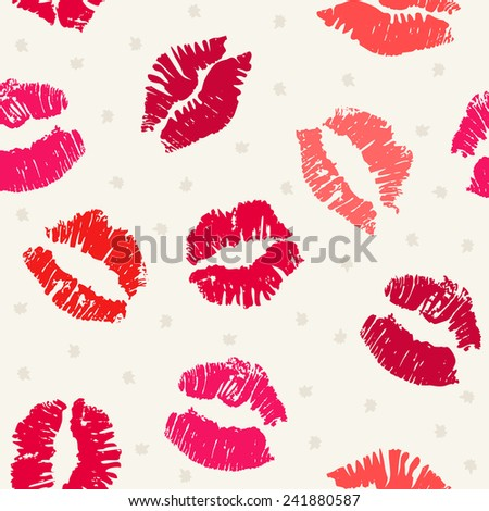 Seamless pattern background with lipsticks prints - stock vector