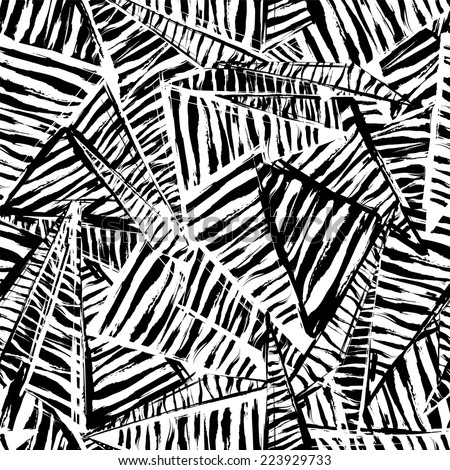 seamless pattern background, with strokes, splashes, triangles and stripes, black and white - stock vector