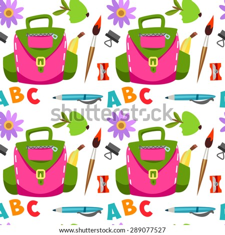 Seamless pattern Backpack, it's time for school,apple, education. Cute children's pattern  in a vector. Back to School.  Background in flat style - stock vector