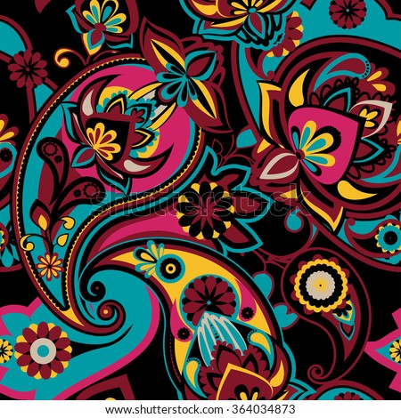 Seamless pattern based on traditional Asian elements Paisley. Blue, pink, burgundy, yellow on a black background - stock vector