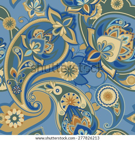 Seamless pattern based on traditional Asian elements Paisley. Blue tone. - stock vector