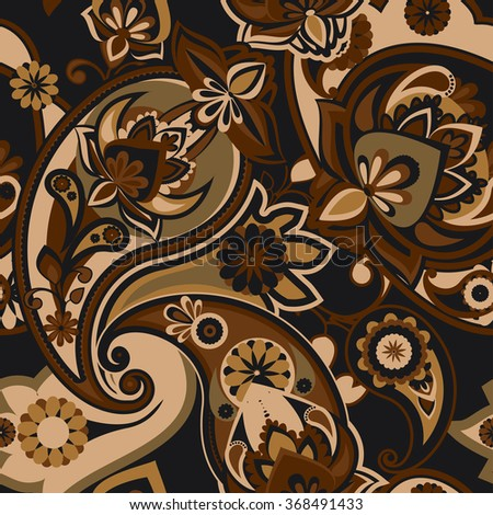 Seamless pattern based on traditional Asian elements Paisley. Brown tone. - stock vector