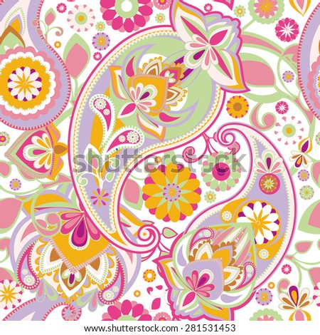 Seamless pattern based on traditional Asian elements Paisley. Delicate pink tone. - stock vector