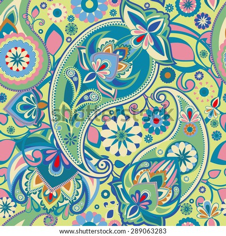 Seamless pattern based on traditional Asian elements Paisley. Pastel green and blue. - stock vector