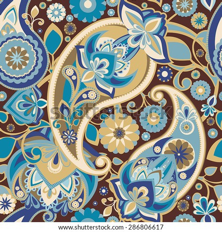 Seamless pattern based on traditional Asian elements Paisley. Vintage brown to blue. - stock vector