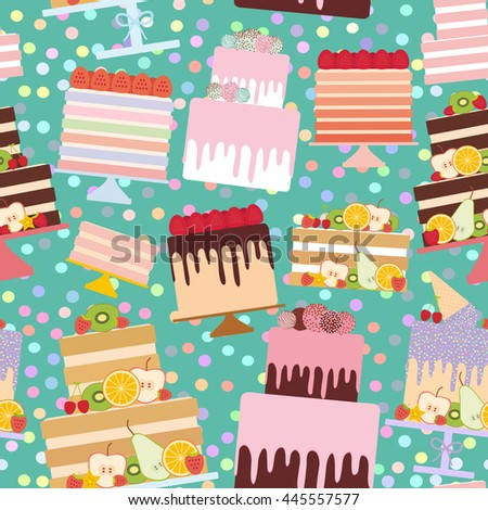 Seamless pattern Birthday, valentine's day, wedding, engagement. Set sweet cake, Cake Stand, fresh fruits berries, chocolate icing sprinkles, cake pops, pastel colors on aqua blue background. Vector - stock vector