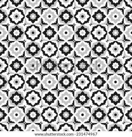 Seamless pattern black and white ceramic tile design with floral ornate.Endless texture.vector daisy background. - stock vector