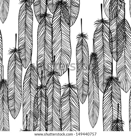 Seamless pattern black and white with hand-drawn feathers. Vector - stock vector