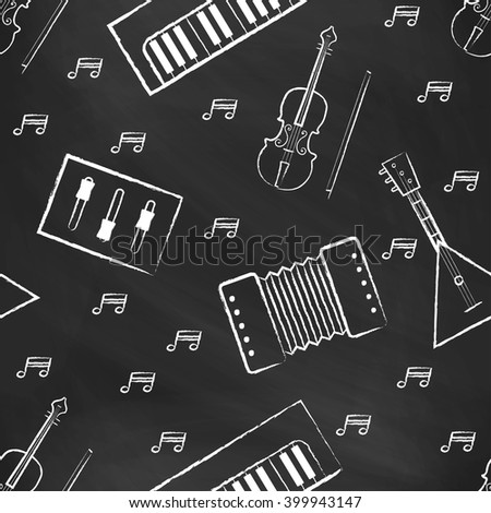 Seamless pattern black chalk board with white children's chalk drawings. Hand-drawn style. Seamless vector wallpaper with the image of musical instruments  piano, balalaika, mixer, violin bow, note - stock vector