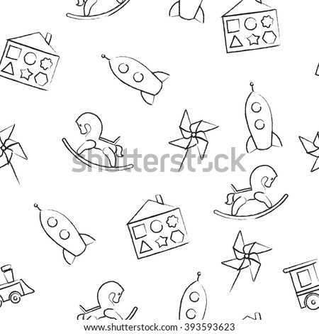 Seamless pattern black crayon children's drawings on white background. Hand-drawn style. Seamless vector wallpaper with the image of  rocking horse, rocket, locomotive, whirligig - stock vector