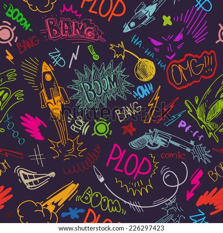Seamless pattern boom backgrounds, vector illustration - stock vector