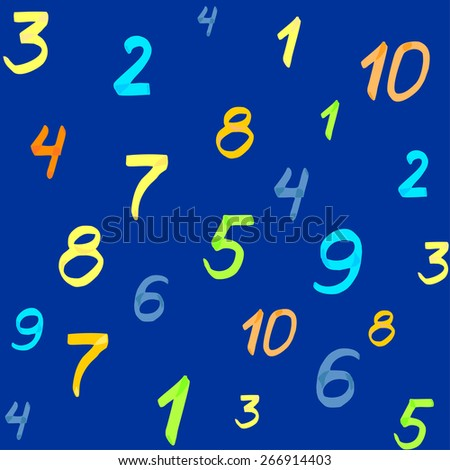 Seamless pattern bright colored marker numbers on a blue background.Vector EPS 8 - stock vector