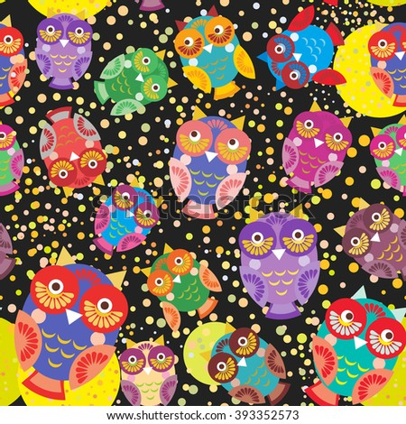seamless pattern bright colorful cute owls on black background, funny birds face with winking eye, bright colors. Vector - stock vector