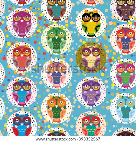 seamless pattern bright colorful cute owls on blue background, funny birds face with winking eye, bright colors. Vector - stock vector