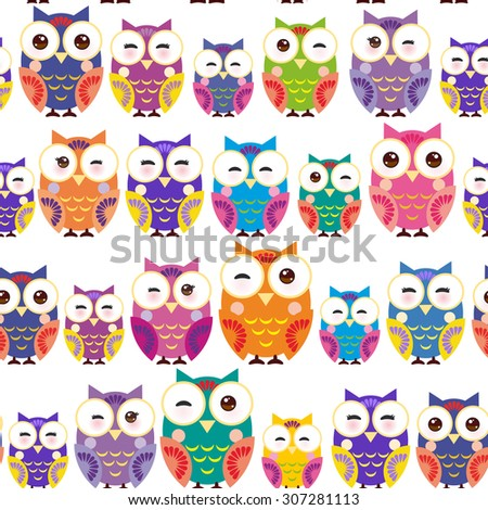 Seamless pattern - bright colorful owls on white background. Vector - stock vector