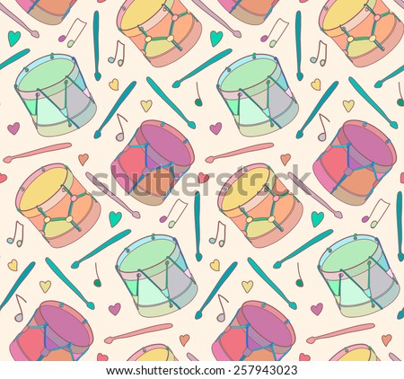 Seamless pattern bright drums Vector eps10. - stock vector