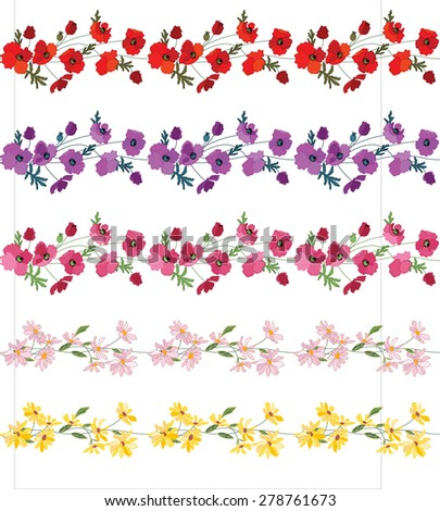 Seamless pattern brush with stylized bright summer flowers. Cultivate flowers - poppy and daisy, different colors. Endless horizontal texture for your design. - stock vector
