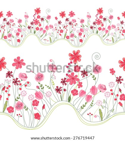 Seamless pattern brush with stylized bright summer flowers. Endless horizontal texture. Pink and red colors. - stock vector