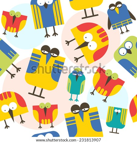 Seamless pattern cartoon birds in childish style. Bright color - stock vector