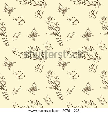 Seamless pattern, cartoon butterflies, turtles and parrots outlines. Vector - stock vector