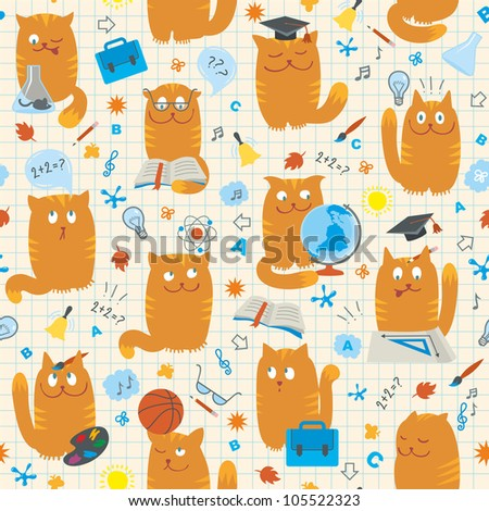 Seamless Pattern - Cats Studing School Subjects - stock vector
