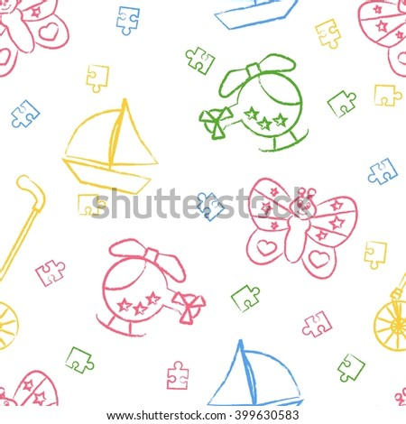 Seamless pattern children's color crayon drawings on white background. Hand-drawn style. Seamless vector wallpaper with the image Rolling toys, butterfly, helicopter, boat, puzzle - stock vector