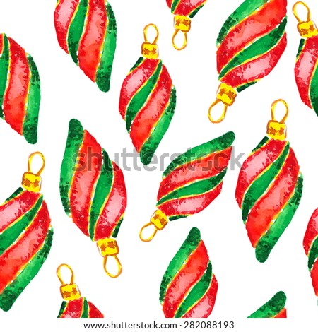 Seamless Pattern Christmas  and new year decorations, painted in watercolor - stock vector