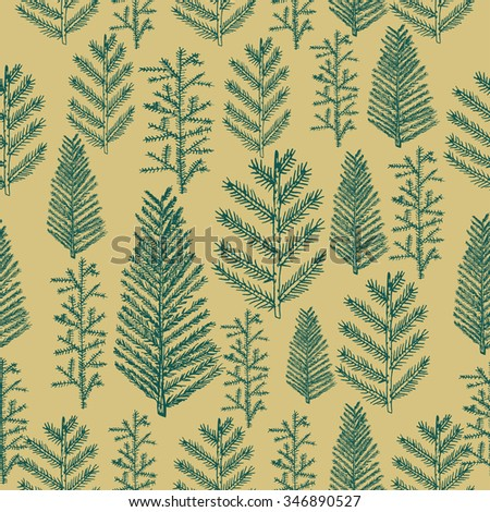 Seamless pattern christmas tree fir pine vector on gold background. Vector illustration hand drawn   - stock vector