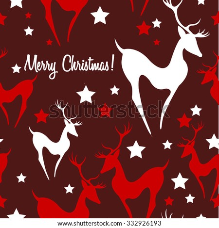 Seamless pattern. Christmas vector illustration Card with deer Merry Christmas seamless background - stock vector