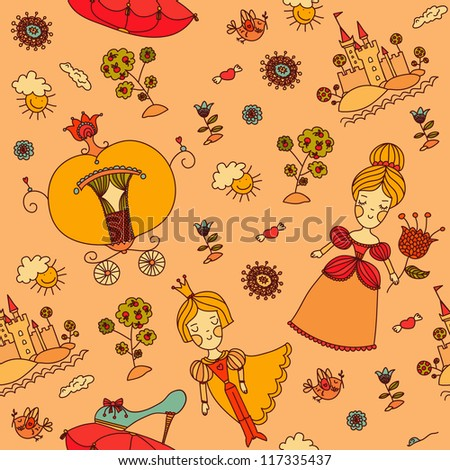 Seamless pattern. Cinderella. Hand drawn background with many details. Template for children. Design with prince, princess, flowers, castle, tree, sea. Design can be used for wallpaper, web, textile. - stock vector