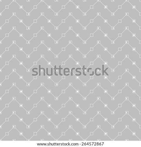 Seamless pattern. Classic geometric texture in the form of waves. Repeated lines, squares and dots. Monochrome. Backdrop. Web. Vector illustration - stock vector