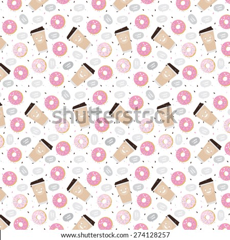 seamless pattern coffee donut i love you vector illustration food - stock vector