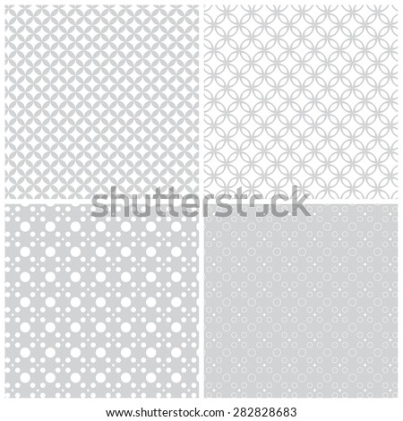 Seamless pattern. Collection of four simple classical textures. Repeating geometric shapes, rhombuses, ellipses, dots, circles. Monochrome. Backdrop. Web. Vector element of graphic design - stock vector