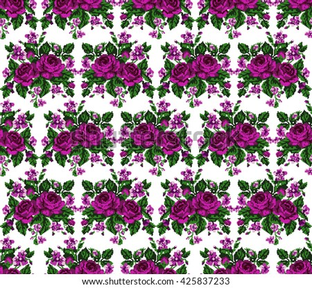 Seamless. Pattern. Color bouquet of flowers (roses and cornflowers)  using traditional Ukrainian embroidery elements.Pink, violet and green tones. Can be used as pixel-art, card, emblem, icon. - stock vector