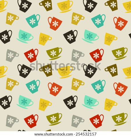 Seamless pattern. Colored cups with white flowers on beige background. Tea Time - stock vector