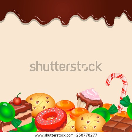 Seamless pattern colorful candy sweets and chocolate vector  - stock vector