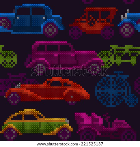 seamless pattern - colorful old timer cars and bicycles - stock vector