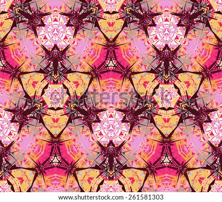 Seamless pattern composed of abstract elements located on a color background. Useful as design element for texture, pattern and artistic compositions. Vector illustration. - stock vector