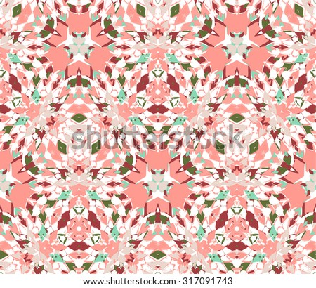 Seamless pattern composed of color abstract elements located on white background. Useful as design element for texture, pattern and artistic compositions. Vector illustration. - stock vector