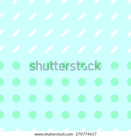 Seamless pattern consisting of a circle and a rectangle with rounded corners on a light blue background with white and pale green - stock vector