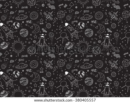 Seamless pattern. Cosmic objects set. Hand drawn vector doodles. Rockets planets constellations ufo stars satellite, etc. Space collection. Black and white. - stock vector